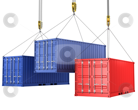 Three freight containers are being hoisted stock photo, Three freight containers are being hoisted, isolated on white background by Zelfit