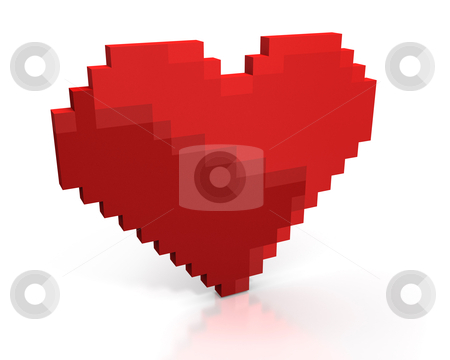 Red heart made of cubic pixels stock photo, Red heart made of cubic pixels isolated on white background by Zelfit
