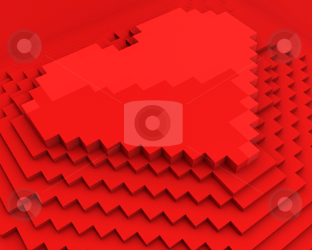 Pyramid with heart on top made of red cubic pixels, diagonal clo stock photo, Pyramid with heart on top made of red cubic pixels isolated on white background,diagonal closeup by Zelfit