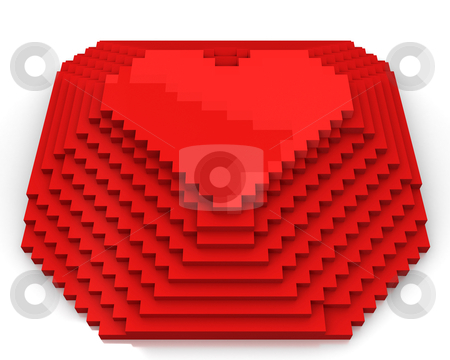 Pyramid with heart on top made of red cubic pixels, front view stock photo, Pyramid with heart on top made of red cubic pixels isolated on white background, front view by Zelfit
