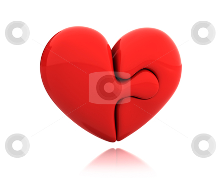 Heart puzzle from two parts connected together  stock photo, Heart puzzle from two parts connected together isolated on white background by Zelfit