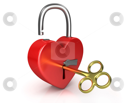 Opened red lock formed as heart with a golden key in a keyhole v stock photo, Opened red lock formed as heart with a golden key in a keyhole isolated on white background by Zelfit