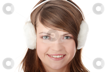 Pretty young teen girl wearing white earmuff stock photo, Pretty young teen ...