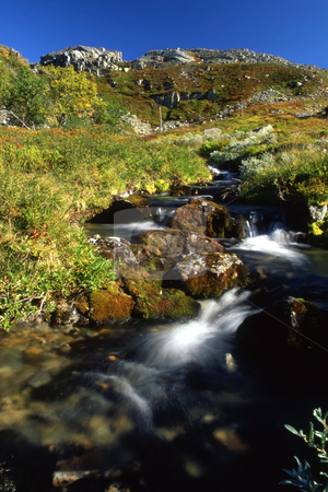 Stream in mountain stock photo, A small stream in mountain in sunny day by Ingvar Bjork