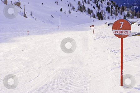 Ski slopes stock photo, ski slopes in winter with snow by freeteo