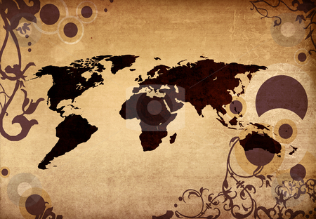 World map stock photo, world map-vintage artwork for your design by ilolab