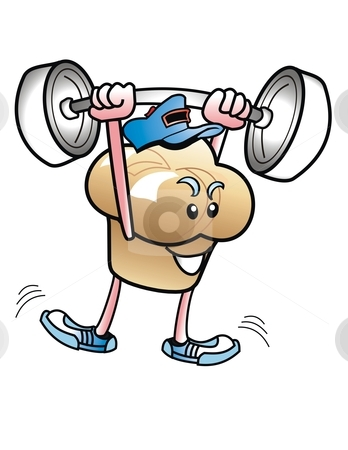 ... Lifter stock photo, Funny cartoon of muffin lifting weights. by WScott