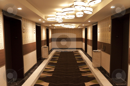 Elevator Lobby stock photo, A hotel elevator lobby that leads to the hotel rooms by Kevin Tietz