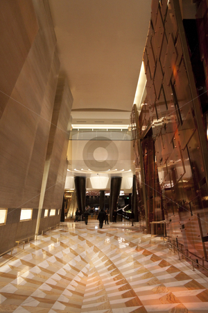 Large Hotel Lobby stock photo,  An modern hotel lobby with a marble floor by Kevin Tietz