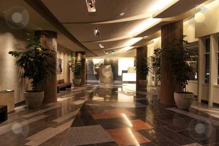 Hotel Lobby stock photo,  An empty modern hotel lobby with a granite floor by Kevin Tietz