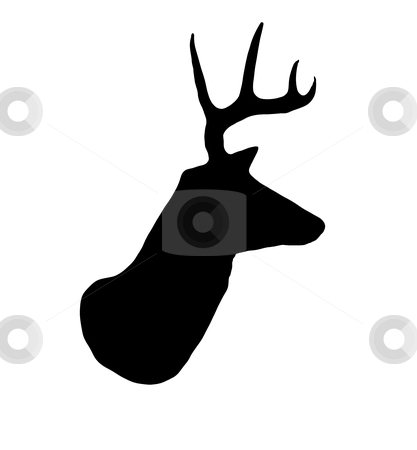 Whitetail Buck Deer Head Profile Silhouette stock photo, A profile of a whitetail deer buck silhouette isolated on white. by David Schliepp