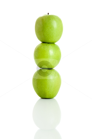 Apple balance stock photo, 3 fresh apple isolated over white background by ikostudio