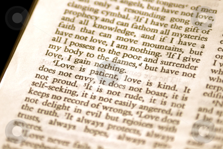 Love is Patient Bible Verse stock photo, Macro of 1 Corinthians 13:4 Love is Patient. by David Schliepp