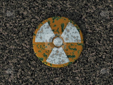 Nuclear stock photo, rusty nuclear symbol - 3d illustration by J?