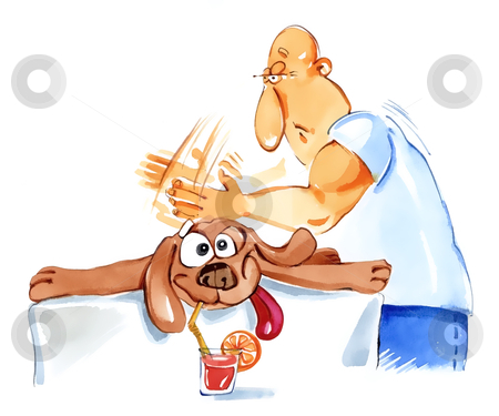 Dog massage stock photo, humorous illustration of dog in spa on massage by Igor Zakowski