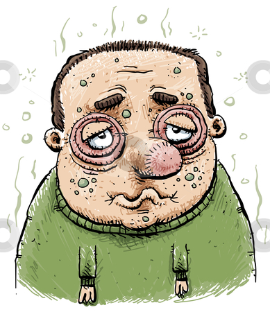 Sick Cartoon Man stock photo, A sick and swollen cartoon man. by Brett Lamb