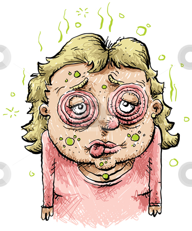Sick Cartoon Woman stock photo, A sick and swollen cartoon woman. by Brett Lamb