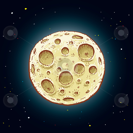 Cartoon Moon stock photo, A cartoon moon in the night sky. by Brett Lamb
