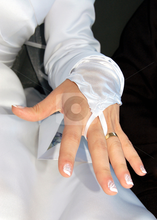 Hand of the bride with wedding ring stock photo, Hand of the bride with wedding ring by sutike