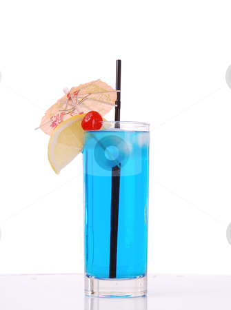 Blue cocktail  stock photo, blue cocktail on white background by sutike