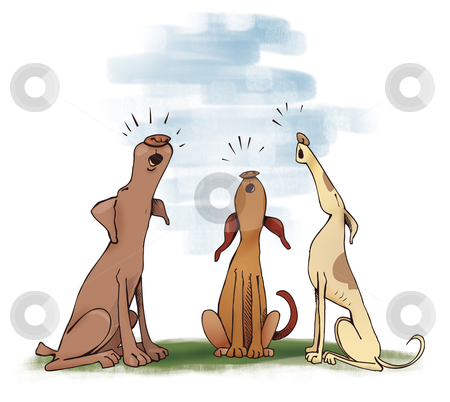 Three howling dogs stock photo, Humorous illustration of three howling dogs by Igor Zakowski