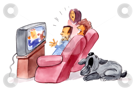 Family watching television and bored dog stock photo, humorous illustration of family watching television and bored dog by Igor Zakowski