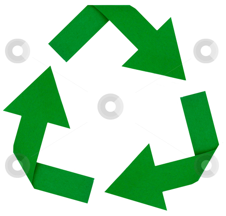 Green Recycle Symbol stock photo, Photo of a green reduce, reuse, renew, recycle symbol by David Schliepp