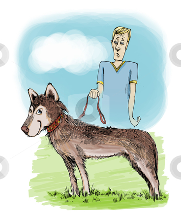 Husky dog on exhibition stock photo, illustration of husky dog and his owner on exhibition by Igor Zakowski