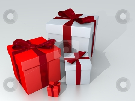 Gift stock photo, Red and White Giftboxes on White Background by novelo
