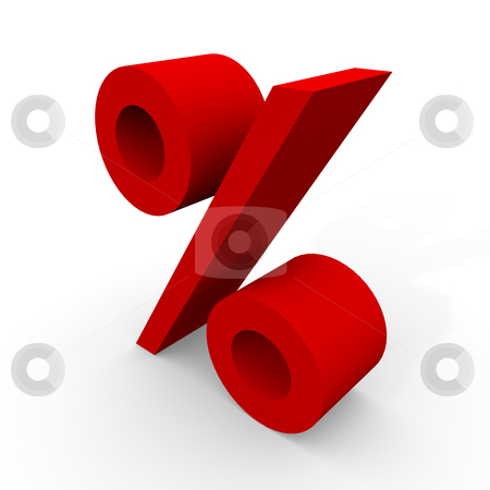 Percent stock photo, Red Percent  by novelo