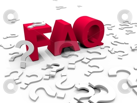 Faq stock photo, The word FAQ surrounded by questionmarks by novelo