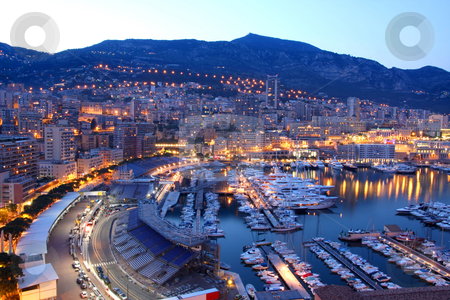 Monaco at night stock photo, View of Monaco at night by vladacanon1