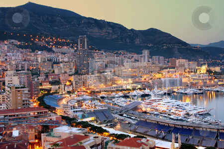 Monaco  stock photo, View of Monaco at night by vladacanon1