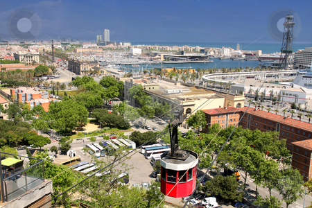 Panoramic view of Barcelona stock photo, details panoramic view of Barcelona, Port Vell by vladacanon1