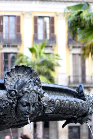 Fountain Royal Palace in Barcelona stock photo, details of fountain Royal Palace in Barcelona, Spain (placa Reial) by vladacanon1