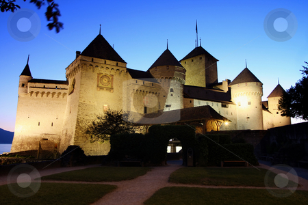 The Chillon castle in Montreux, Switzerland stock photo, The Chillon castle in Montreux (Vaud), Geneva lake, Switzerland by vladacanon1
