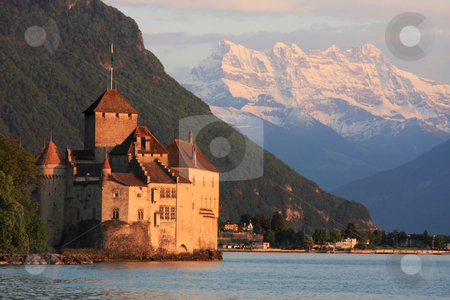 The Chillon castle in Montreux (Vaud),Switzerland stock photo, The Chillon castle in Montreux (Vaud), Geneva lake, Switzerland by vladacanon1