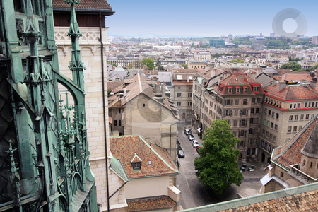 Geneva, Switzerland stock photo, panoramic view of Geneva, Switzerland from Cathedral Saint Pierre by vladacanon1