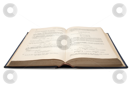 Old open book stock photo, old open book of mathematics used to study algebra in schools  isolated with clipping path by paulrommer