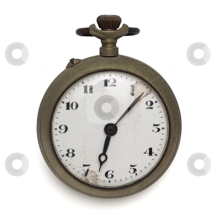 Old pocket watch stock photo, old pocket watch by the time (isolated with clipping path) by paulrommer