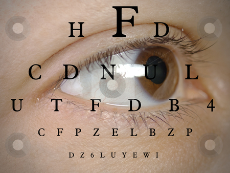 Vision stock photo, test vision chart over a human female eye by novelo