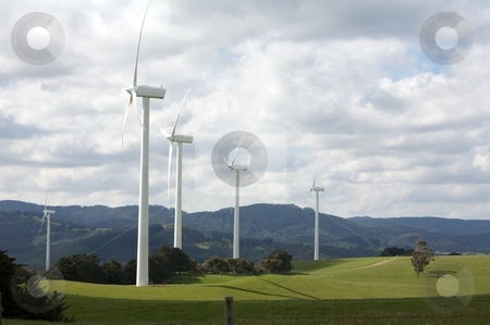 Wind Turbines stock photo, Beautiful green meadow with Wind Turbines, electricity and power by instinia