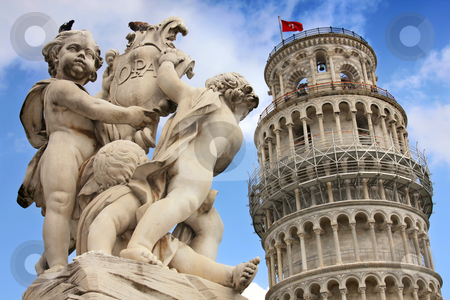 Pisa, Tuscany, Italy  stock photo, Leaning tower and statue angel in Pisa, Tuscany, Italy  by vladacanon1