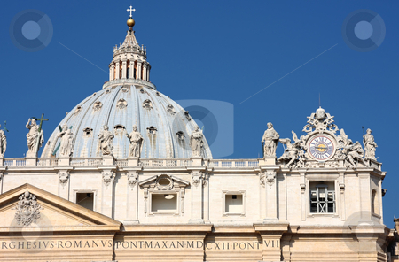 Statues on top of a St. Peter's Basilica stock photo, Statues on top of a St. Peter's Basilica, Rome, Italy  by vladacanon1