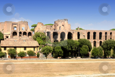 Ruins of Palatine hill palace in Rome, Italy stock photo, Ruins of Palatine hill palace in Rome, Italy (Circus Maximus) by vladacanon1