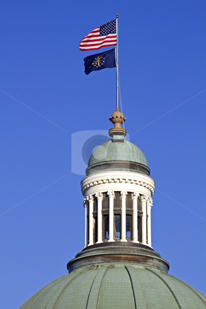 Flags on the top of State Capitol Building  stock photo, Flags on the top of State Capitol Building  in Indianapolis, Indiana, USA by Henryk Sadura