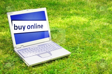 Buy online stock photo, buy online or ecommerce concept with laptop in green grass by Gunnar Pippel