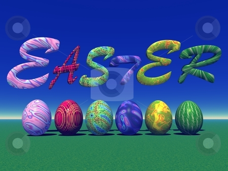 Easter colored eggs in nature stock photo, Six colored eggs for easter under easter letters in the grass and with blue sky by Elenarts