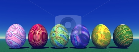 Easter colored eggs in nature stock photo, Six colored eggs for easter in the grass and with blue sky by Elenaphotos21
