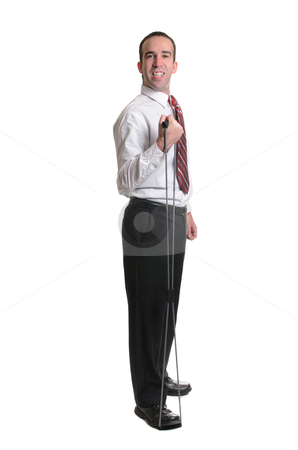 Resistance Band Exercise stock photo, Full body view of a man wearing a tie, using a resistance band, isolated against a white background. by Richard Nelson